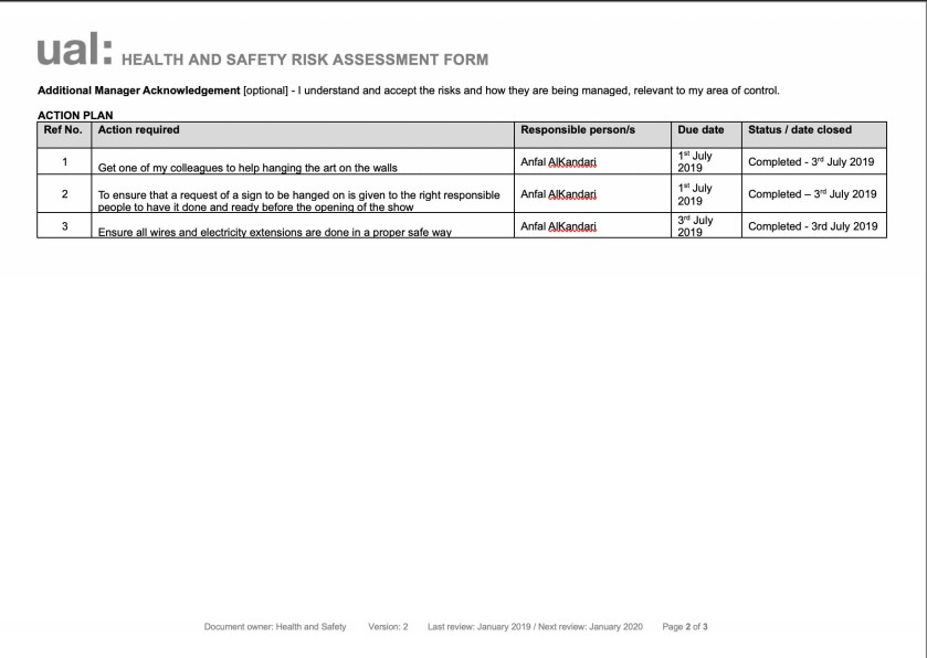 risk assessment 2